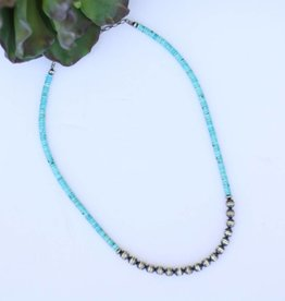 Turquoise and Navajo Pearl Necklace 20in