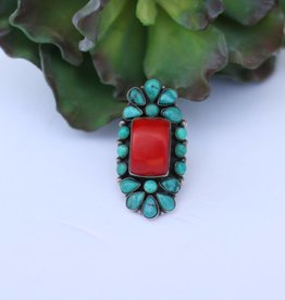 7 1/4 Coral & Turquoise Ring