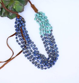 Leather Turquoise Beaded Necklace