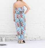 Baby Blue Floral Print Ruffle Romper