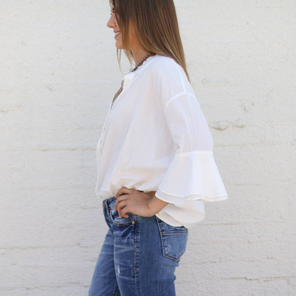 Curved In White Bell Sleeve Top