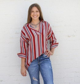 Red Striped V Neck Top