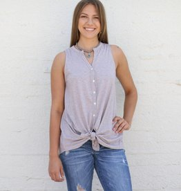 Button Down Tie Front Tank