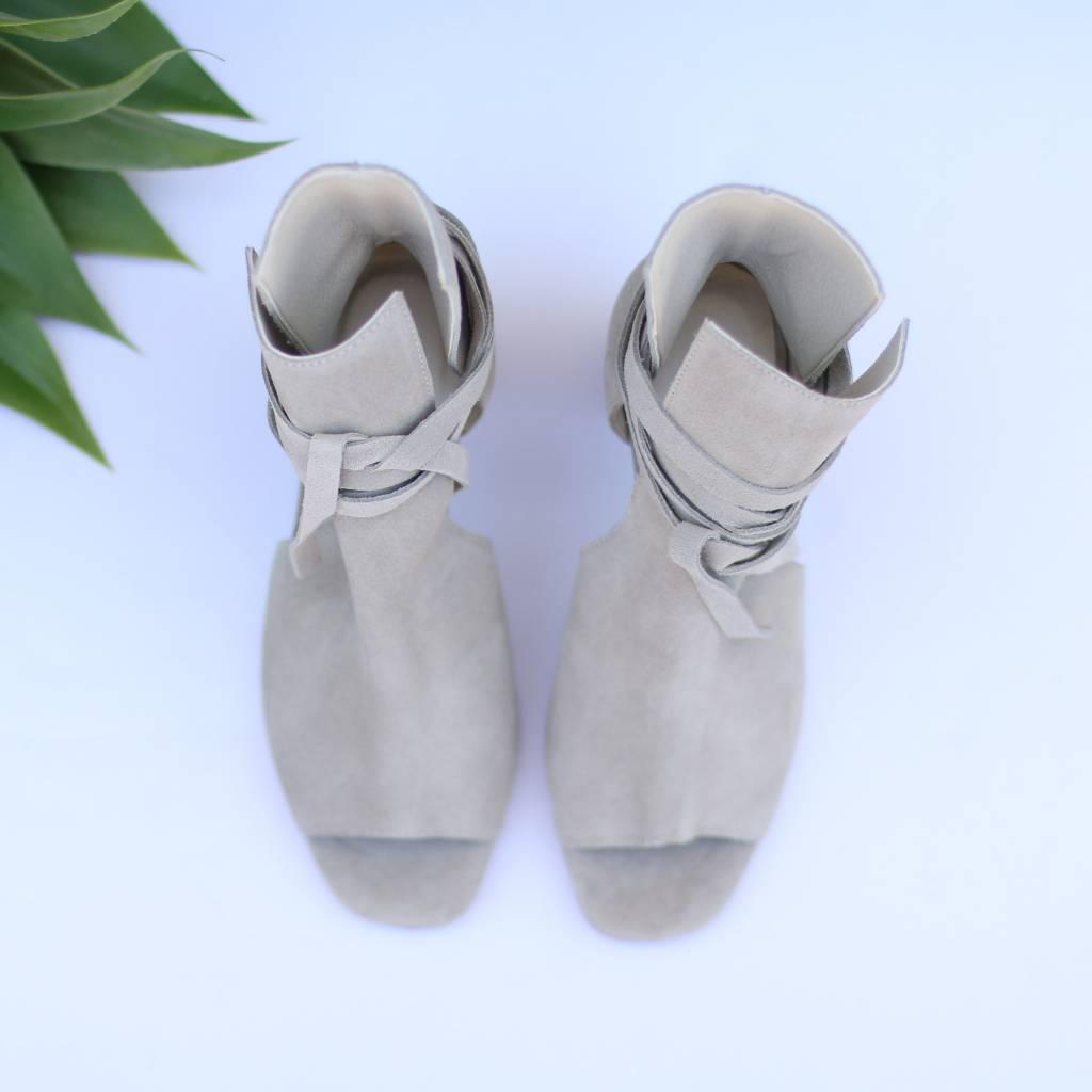 Grey Suede Peep Toe Heels