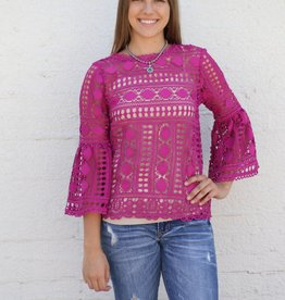 Fuchsia Bell Sleeve Crochet Top