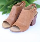 Leather Slingback Peep Toe Block Heel
