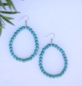 Turquoise Beaded Hoop Earring