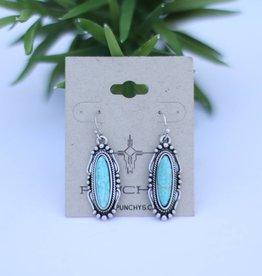 Silver Oval Earring with Turquoise Stone on Fish Hook Backs