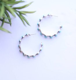 Silver Hoop Earring with Spaced Round Turquoise Stones