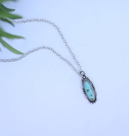 Small Elongated Navajo Pendant with Turquoise Stone on Silver Chain