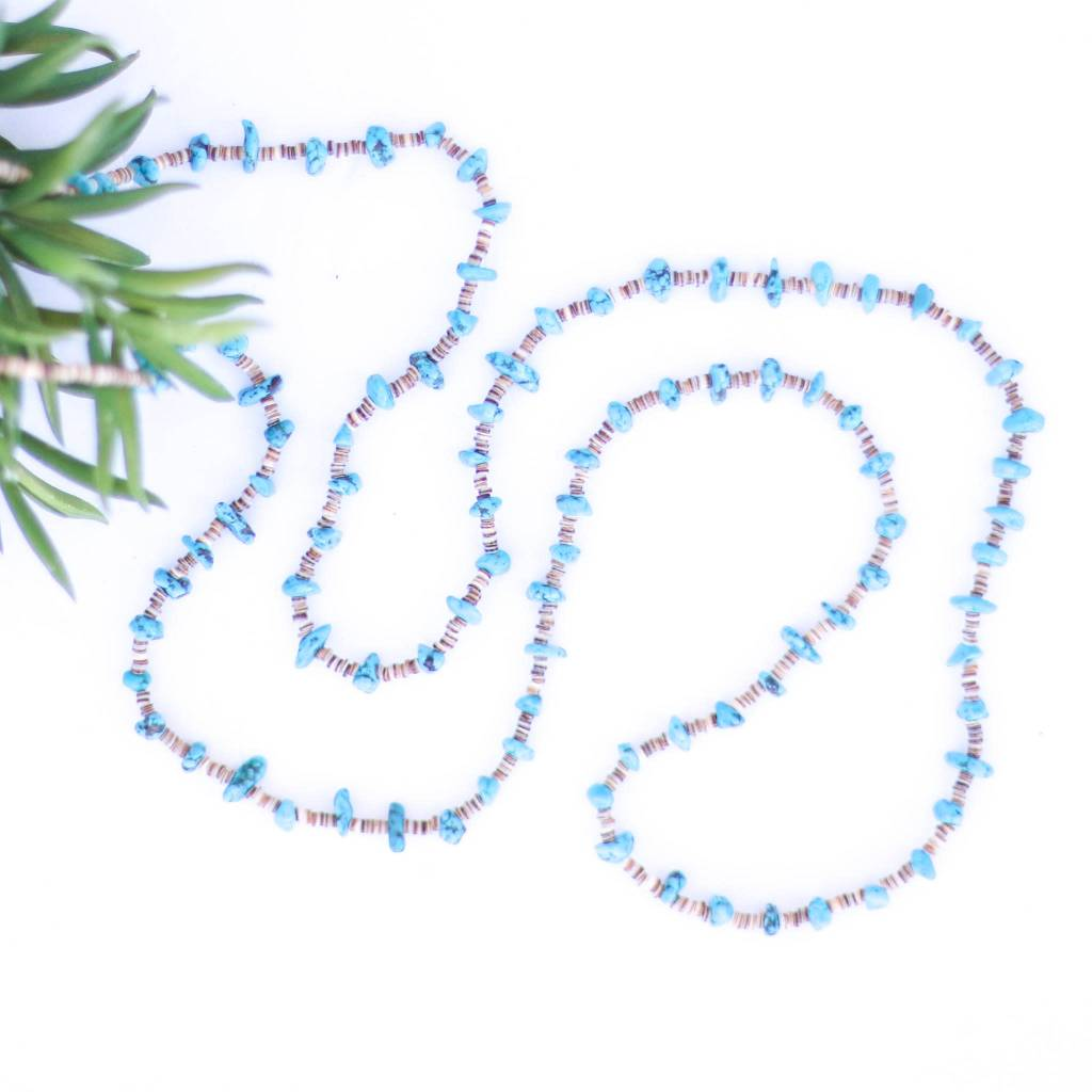 Mini Blue Turquoise and Heishe Long Necklace