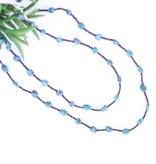 Rounded Blue Turquoise and Dark Brown Heishe Long Necklace