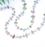 Green Turquoise Spiney and Heishe Long Necklace
