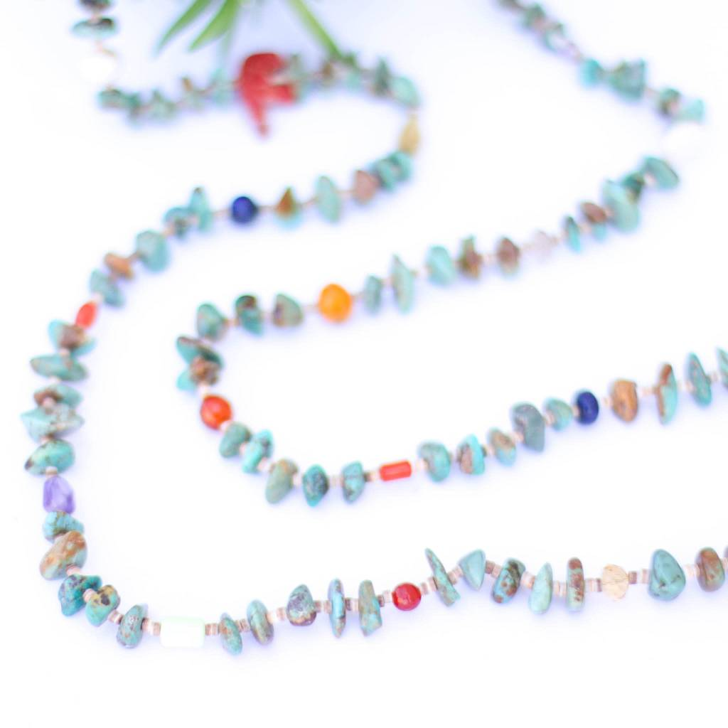 44in Multi Bead Turquoise and Heishe Long Necklace