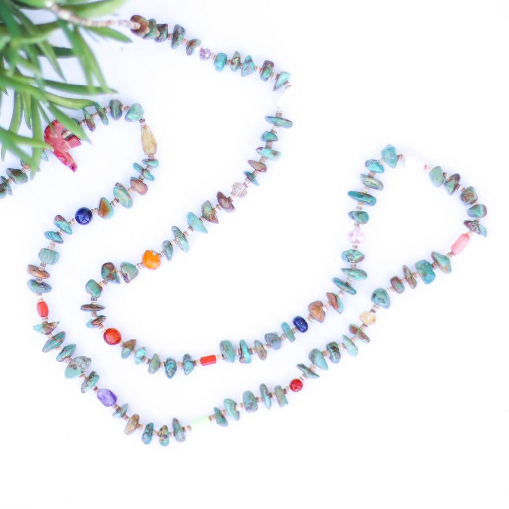 Punchy's 44in Multi Bead Turquoise and Heishe Long Necklace