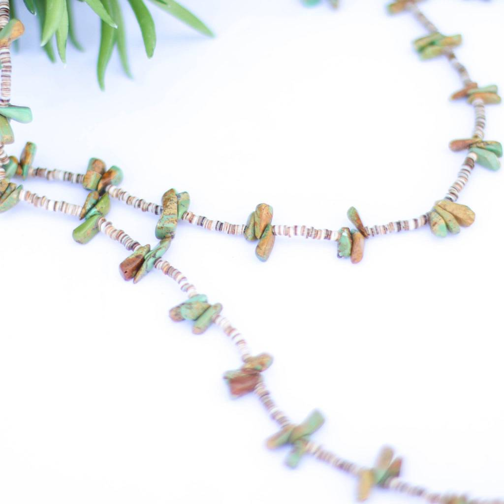 48in Triple Green Turquoise and Heishe Long Necklace