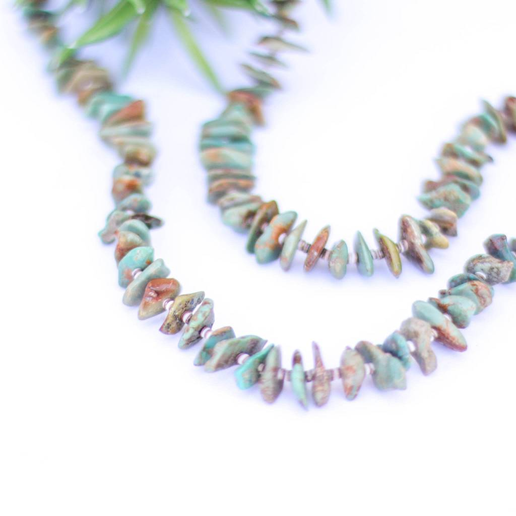 Rounded Chipped Green Turquoise and Heishe Necklace
