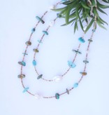 46in Multi Turquoise Pearl and Heishe Long Necklace