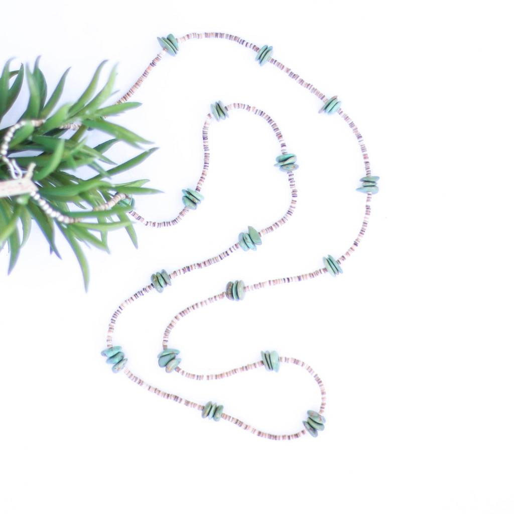 Punchy's 48in Flat Triple Green Turquoise and Heishe Long Necklace