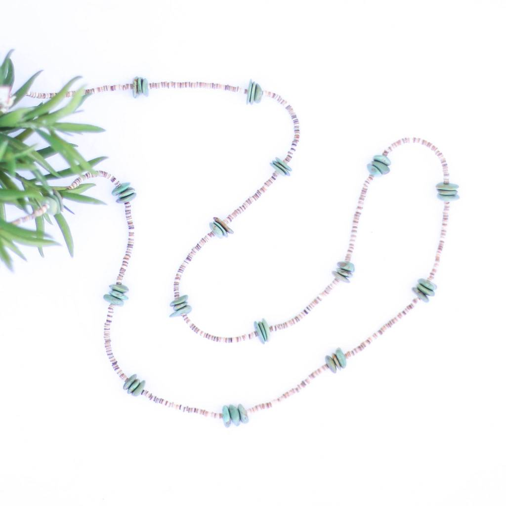48in Flat Triple Green Turquoise and Heishe Long Necklace
