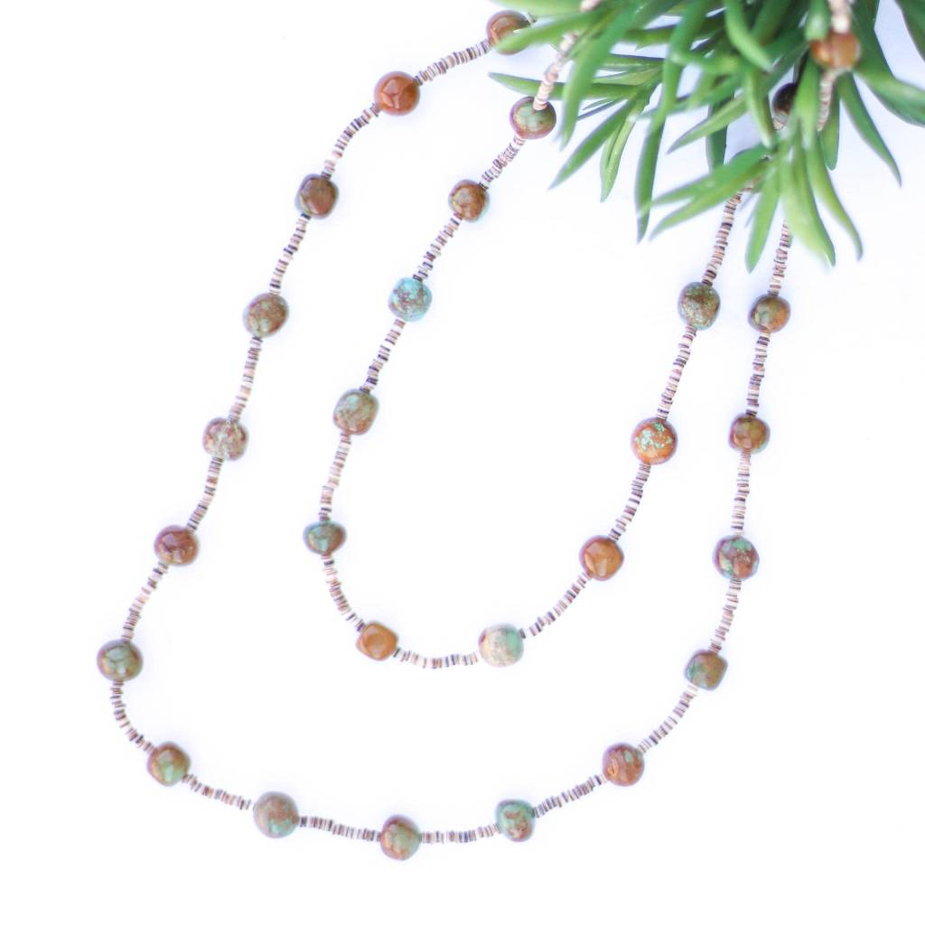 46in Round Green Turquoise and Heishe Long Necklace