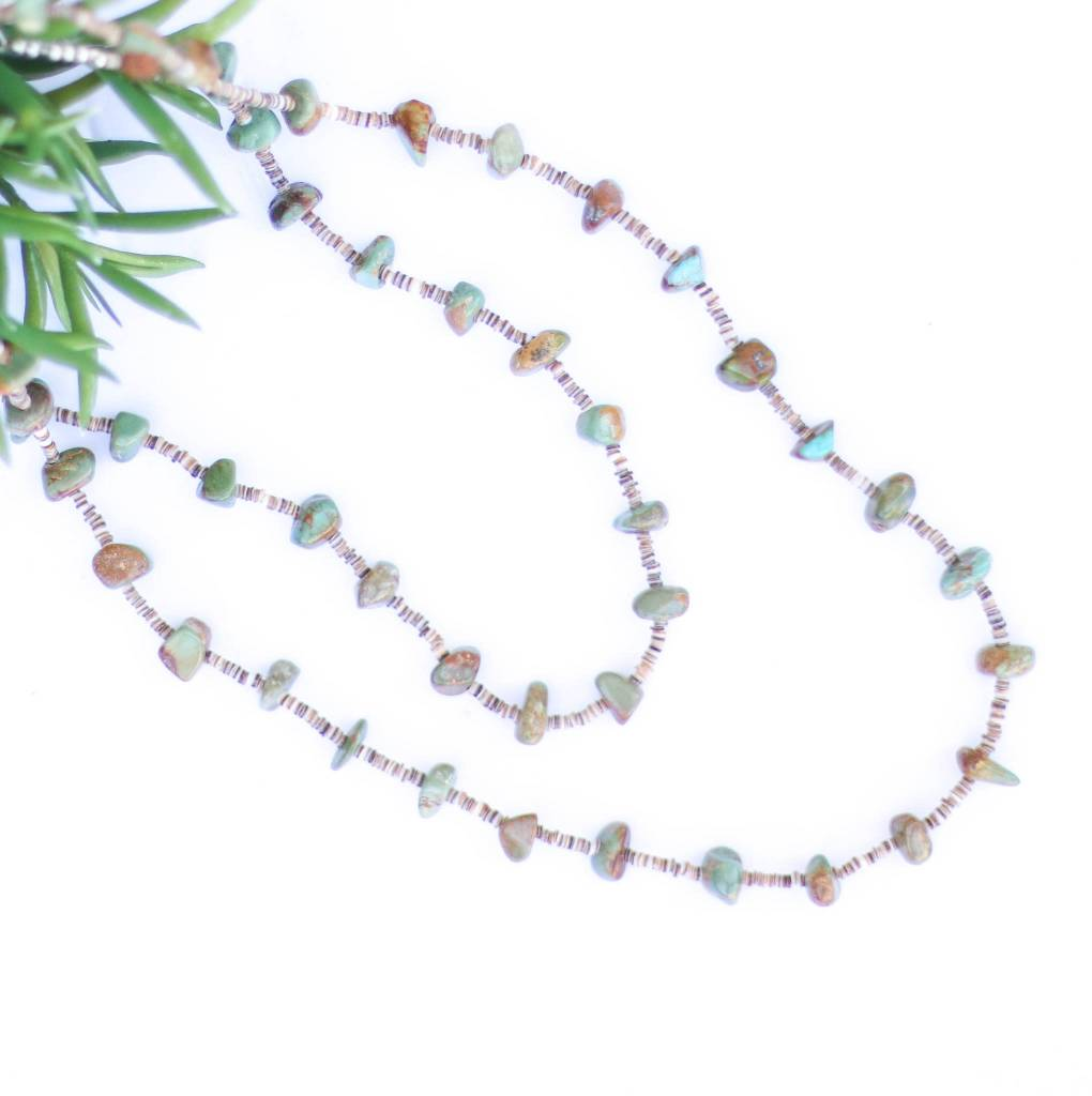 47in Green Turquoise and Heishe Long Necklace