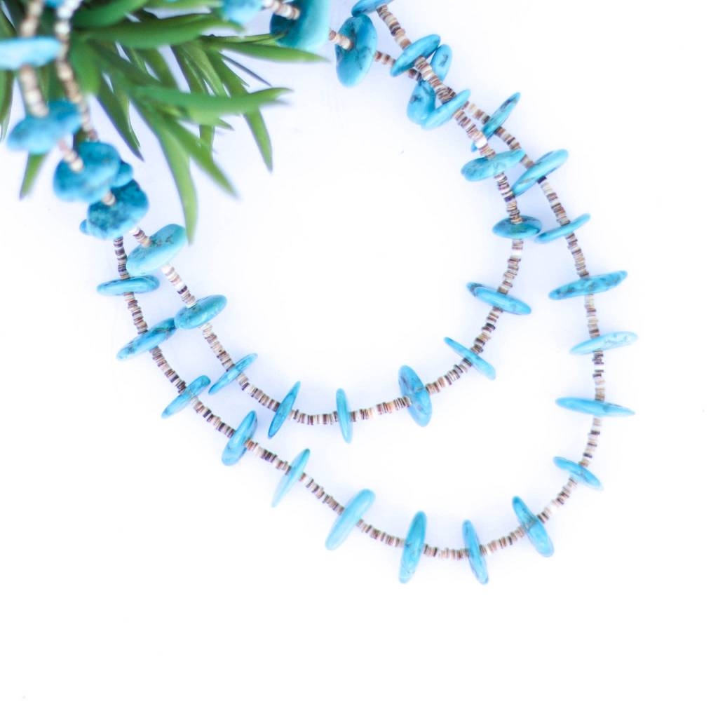 36in Bright Blue Turquoise and Heishe Necklace