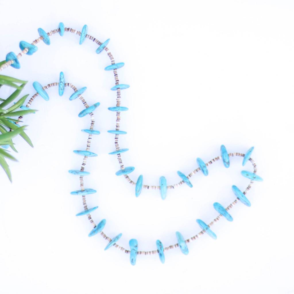 Punchy's 36in Bright Blue Turquoise and Heishe Necklace