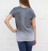 Distressed Ombre V Neck Pocket Tee