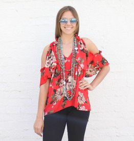 Grace Red Floral Cold Shoulder Blouse