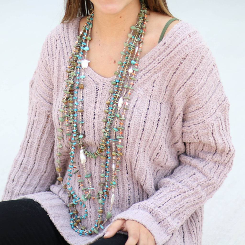 Punchy's Mauve Chenille Distressed Sweater