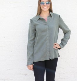 Olive Denim Ruffle Sleeve Button Down
