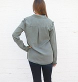 Punchy's Olive Denim Ruffle Sleeve Button Down