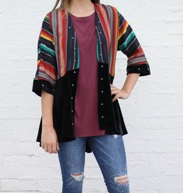 Open Front Black Serape and Velvet Jacket