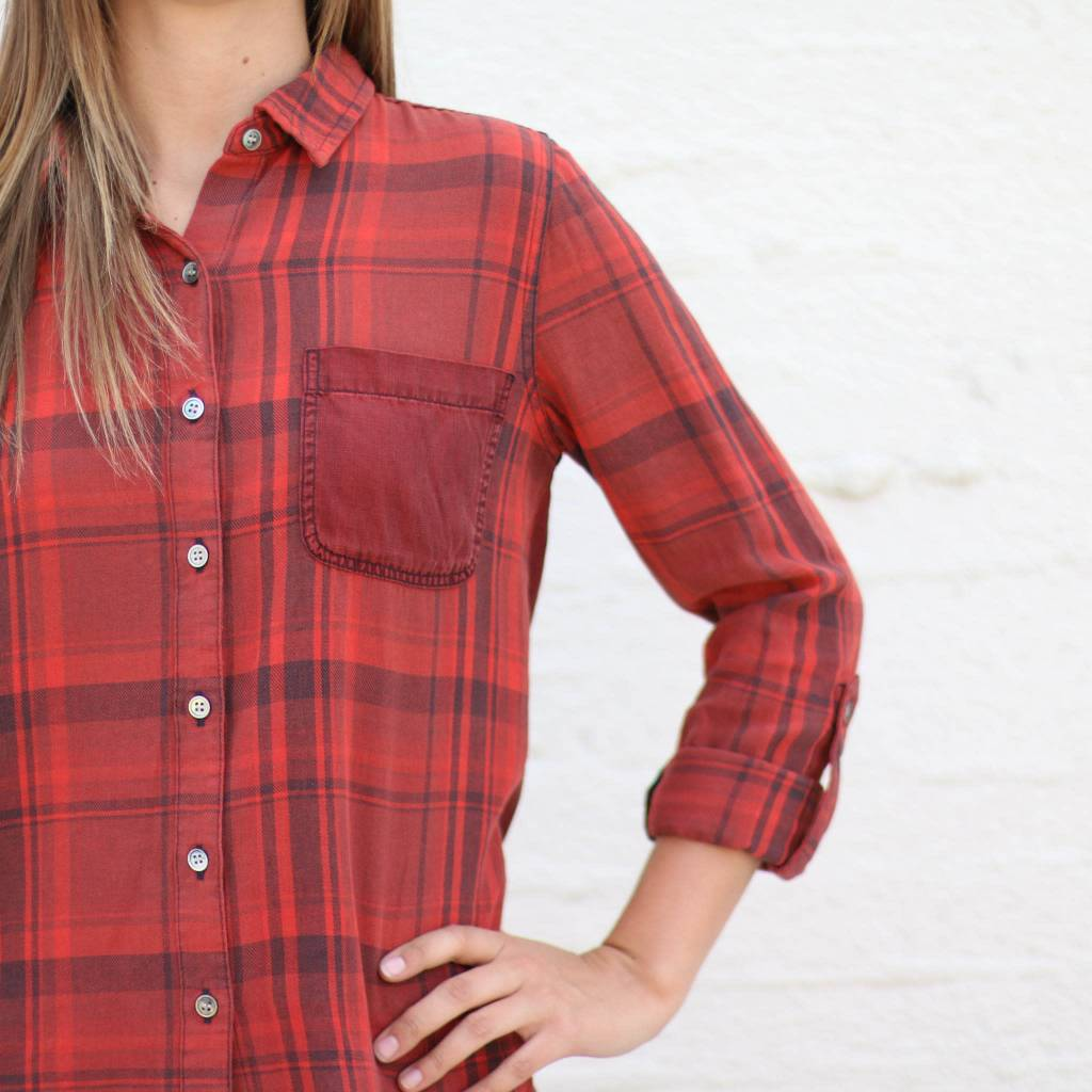 Red Plaid Contrast Button Down