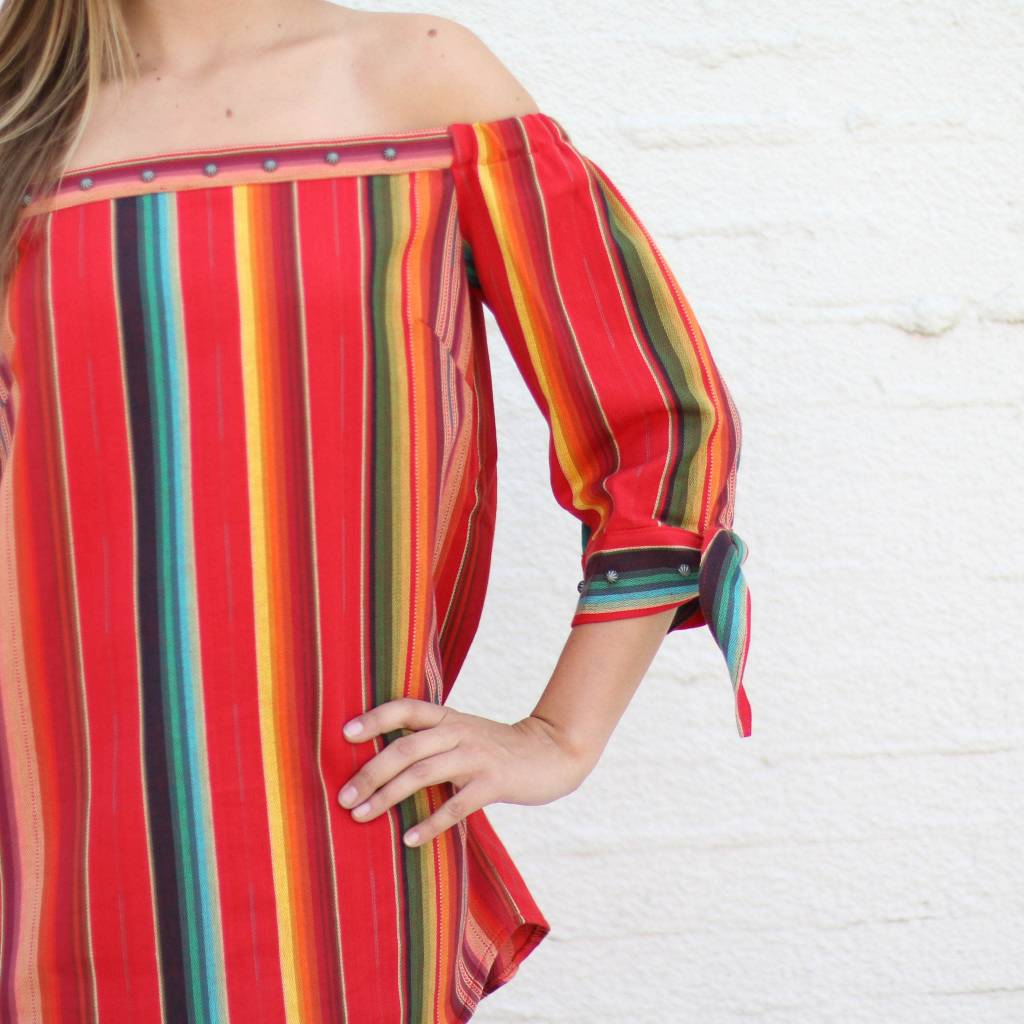 Red Serape Off the Shoulder Top