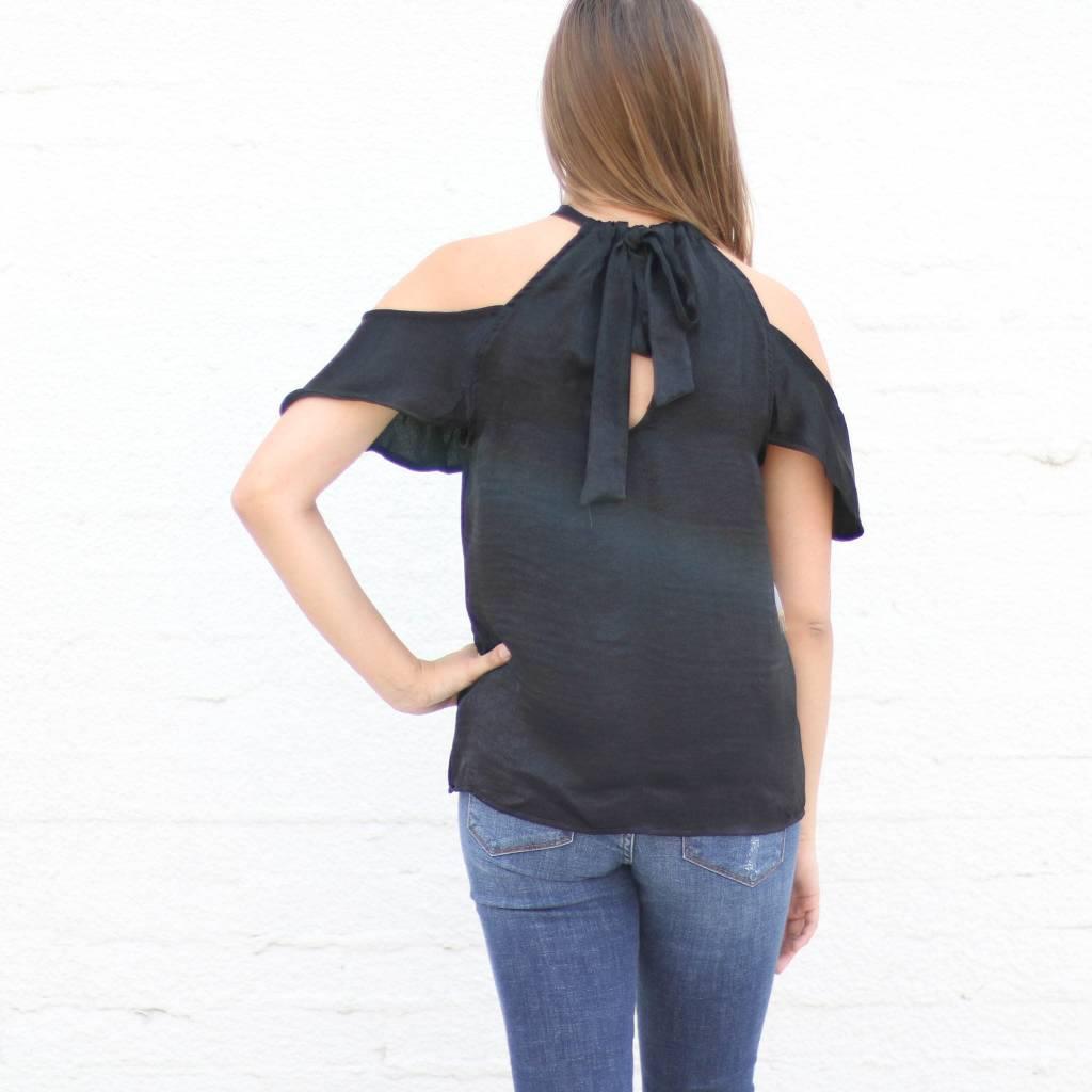 Silky Black Halter Blouse