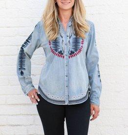 Southwest Embroidered Denim Long Sleeve Shirt