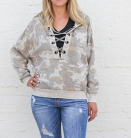 Camo Burnout Lace-Up Hoody