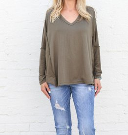 Boxy Reverse Long Sleeve Knit Pullover