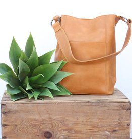 Punchy's Cognac Wide Leather Strap Bucket Bag