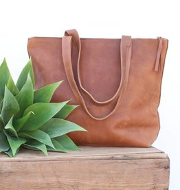 Chestnut Zippered Leather Tote