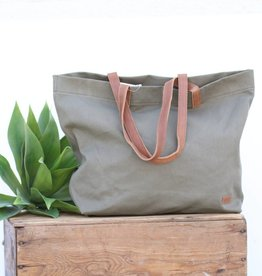 Never Full Olive Canvas Tote