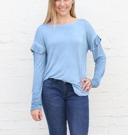 LT Denim Mineral Washed Ruffle Long Sleeve Basic Top