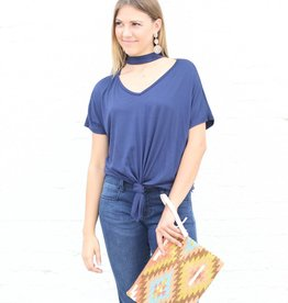 Navy V Neck Chocker Front Knot Basic Top