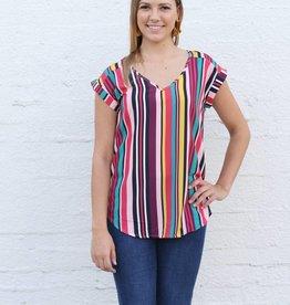 Multi Stripe Cap Sleeve Blouse