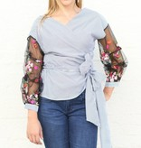 Pinstripe and Floral Sleeve Wrap Blouse