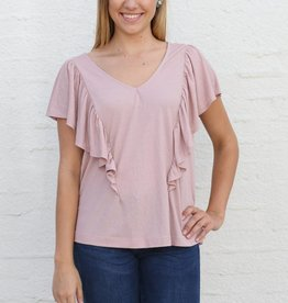 Dusty Rose Ruffle Front Blouse