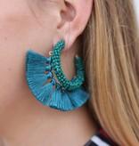Punchy's Beaded Fringe Hoop Earrings Turquoise