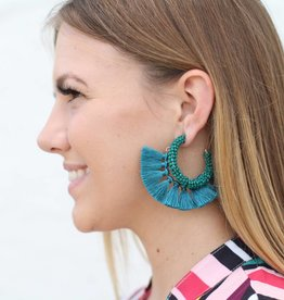 Beaded Fringe Hoop Earrings TURQUOISE